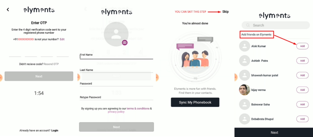 elyments-app-features-indian-social-media-app-facebook-alternative-made-in-india-elyments-signup-profile-settings