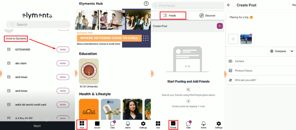 elyments-app-features-indian-social-media-app-facebook-alternative-made-in-india-elyments-homepage-feed-post
