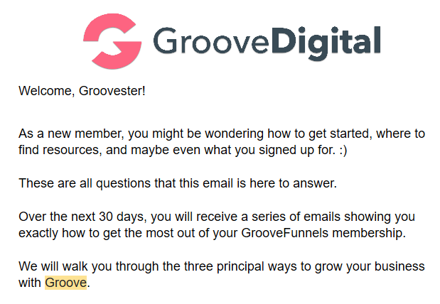 Email Mailing Groove Funnel Welcome email Free Funnel Builder
